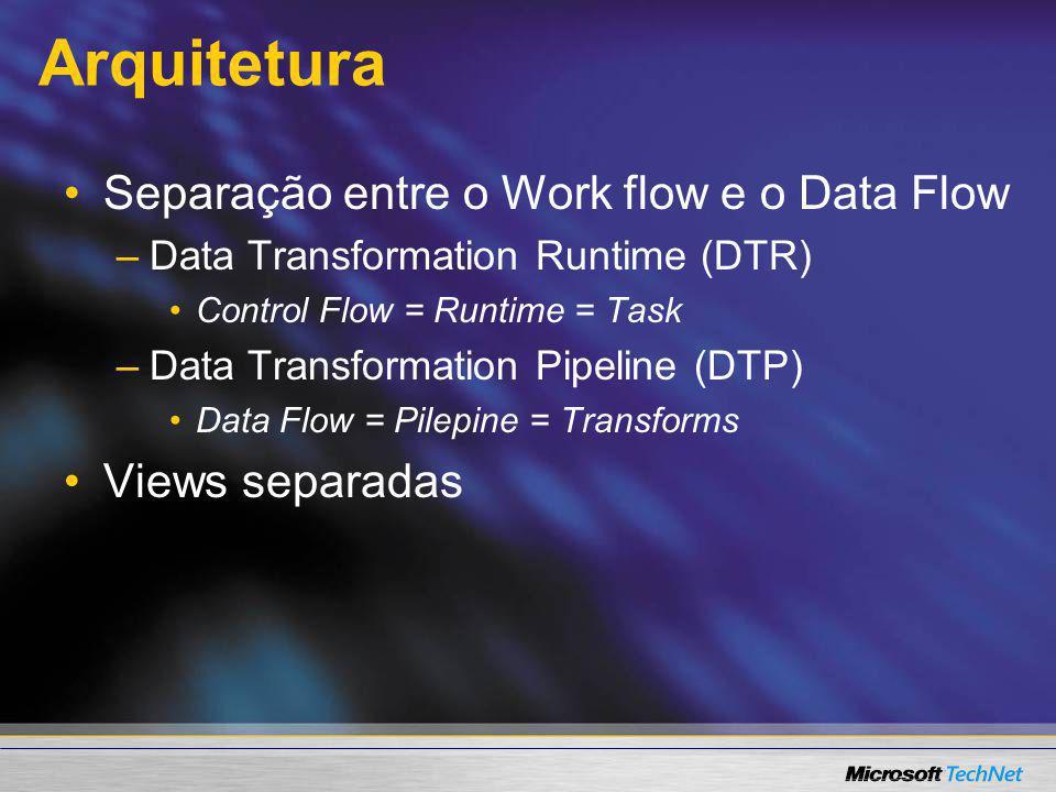 Arquitetura Separação entre o Work flow e o Data Flow – –Data Transformation Runtime (DTR) Control Flow = Runtime = Task – –Data Transformation Pipeli