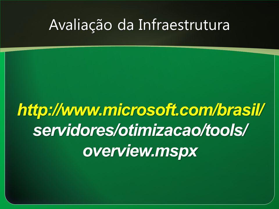 Avaliação da Infraestrutura http://www.microsoft.com/brasil/ servidores/otimizacao/tools/ overview.mspx