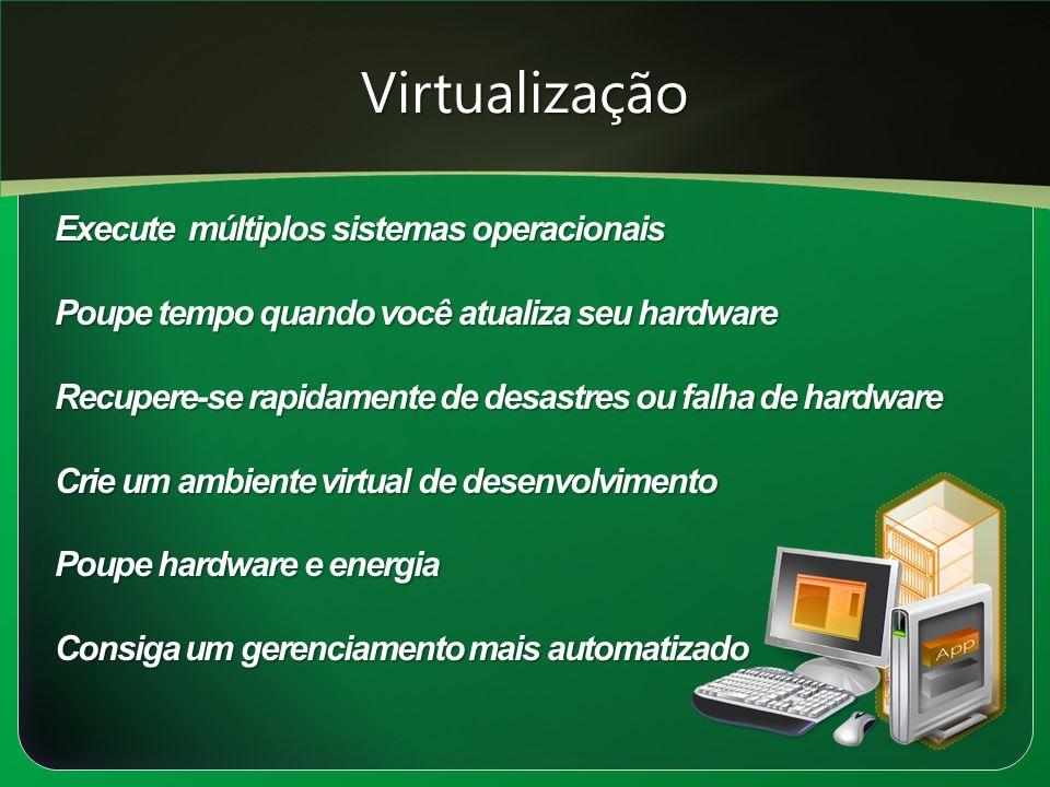 Virtualização Execute múltiplos sistemas operacionais Poupe tempo quando você atualiza seu hardware Recupere-se rapidamente de desastres ou falha de h