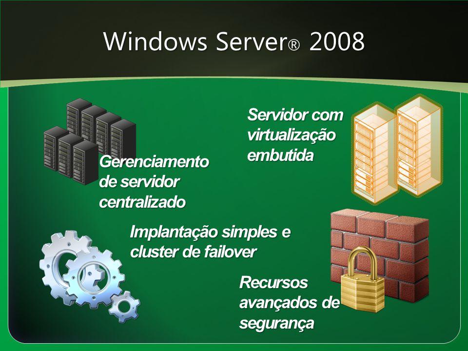Windows Server ® 2008 Gerenciamento de servidor centralizado Implantação simples e cluster de failover Recursos avançados de segurança Servidor com vi