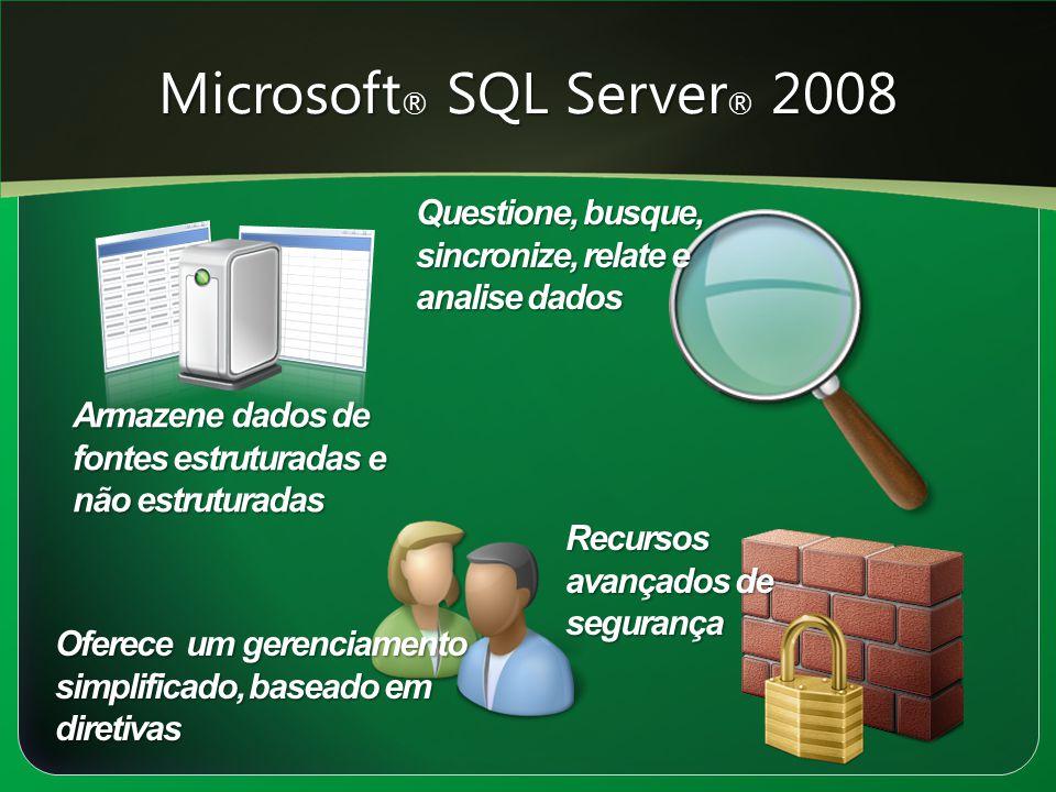 Microsoft ® SQL Server ® 2008 Armazene dados de fontes estruturadas e não estruturadas Oferece um gerenciamento simplificado, baseado em diretivas Que