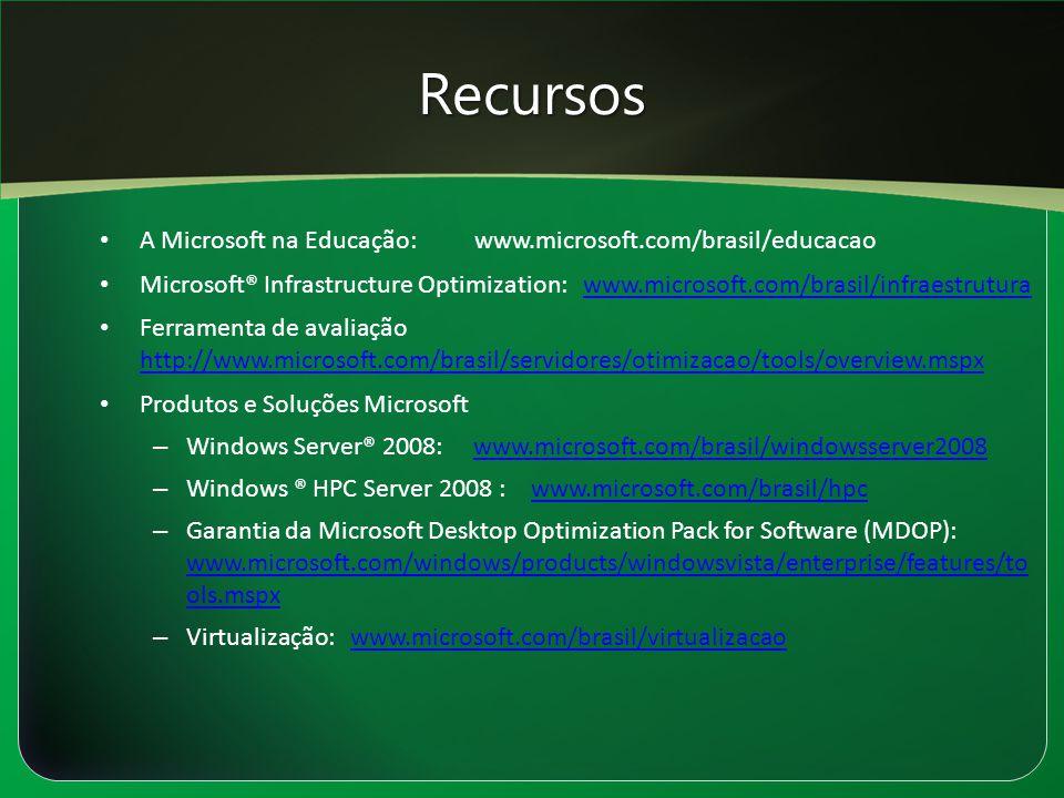 Recursos A Microsoft na Educação: www.microsoft.com/brasil/educacao Microsoft® Infrastructure Optimization: www.microsoft.com/brasil/infraestruturawww