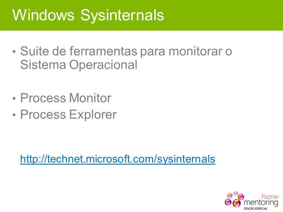 Windows Sysinternals Suite de ferramentas para monitorar o Sistema Operacional Process Monitor Process Explorer http://technet.microsoft.com/sysinternals