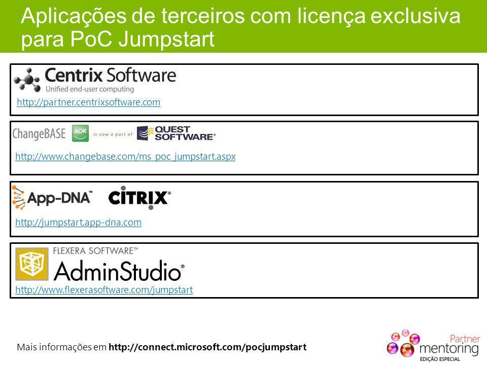 Aplicações de terceiros com licença exclusiva para PoC Jumpstart http://partner.centrixsoftware.com http://www.changebase.com/ms_poc_jumpstart.aspx http://jumpstart.app-dna.com Mais informações em http://connect.microsoft.com/pocjumpstart http://www.flexerasoftware.com/jumpstart