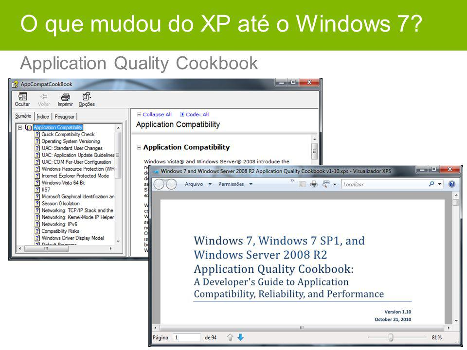 O que mudou do XP até o Windows 7? Application Quality Cookbook