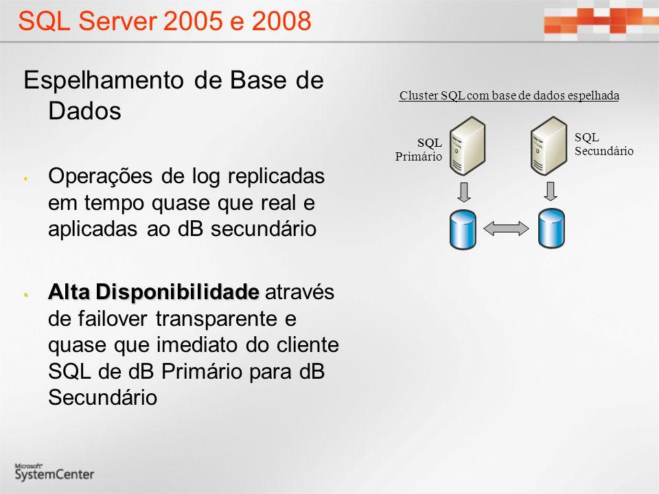 SQL Server 2005 e 2008 Espelhamento de Base de Dados Operações de log replicadas em tempo quase que real e aplicadas ao dB secundário Alta Disponibili