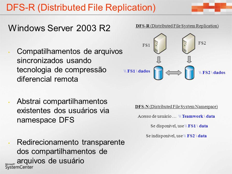 DFS-R (Distributed File Replication) Windows Server 2003 R2 Compatilhamentos de arquivos sincronizados usando tecnologia de compressão diferencial rem