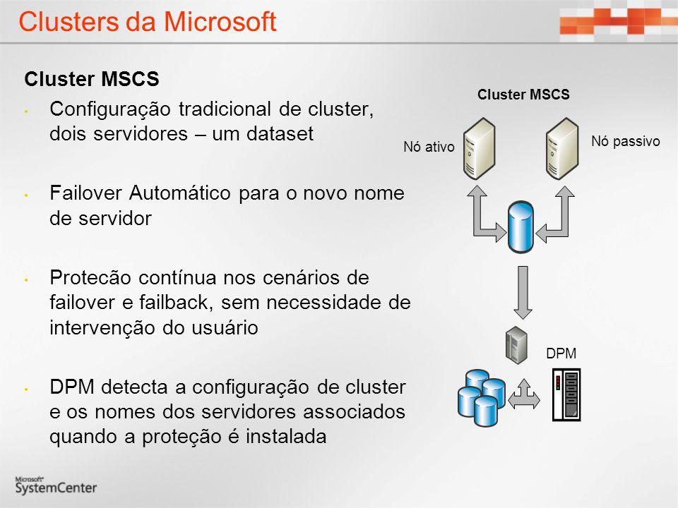 Clusters da Microsoft Cluster MSCS Configuração tradicional de cluster, dois servidores – um dataset Failover Automático para o novo nome de servidor