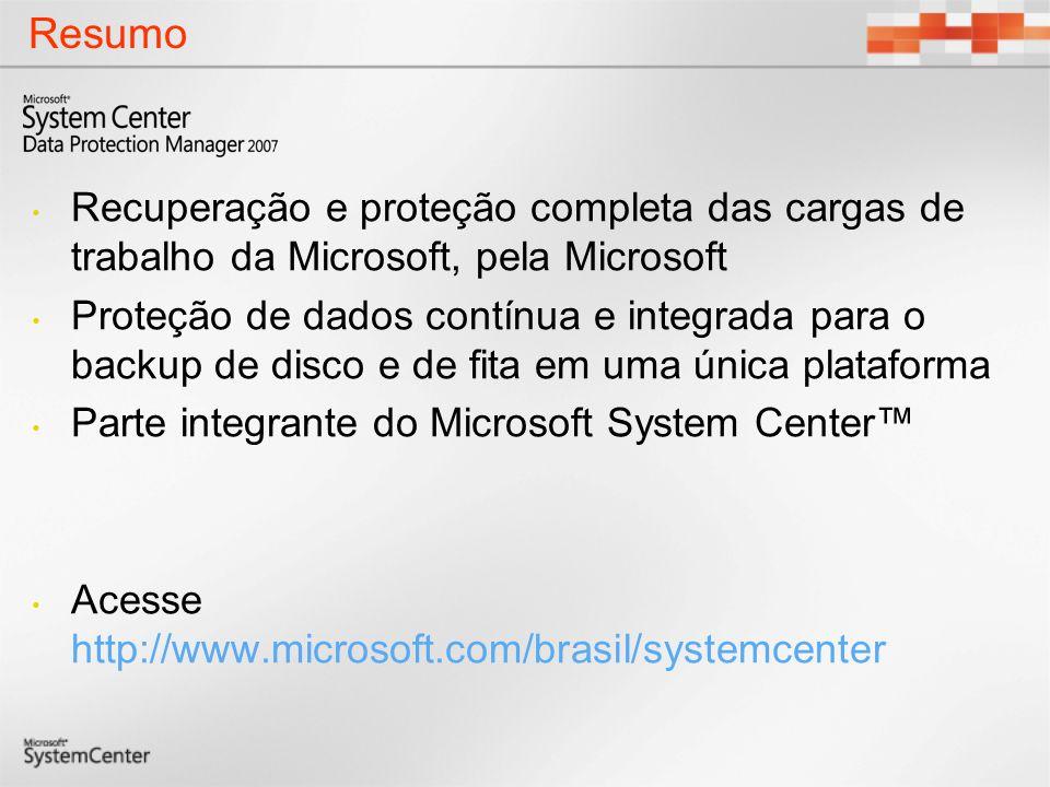 Resumo Recuperação e proteção completa das cargas de trabalho da Microsoft, pela Microsoft Proteção de dados contínua e integrada para o backup de dis