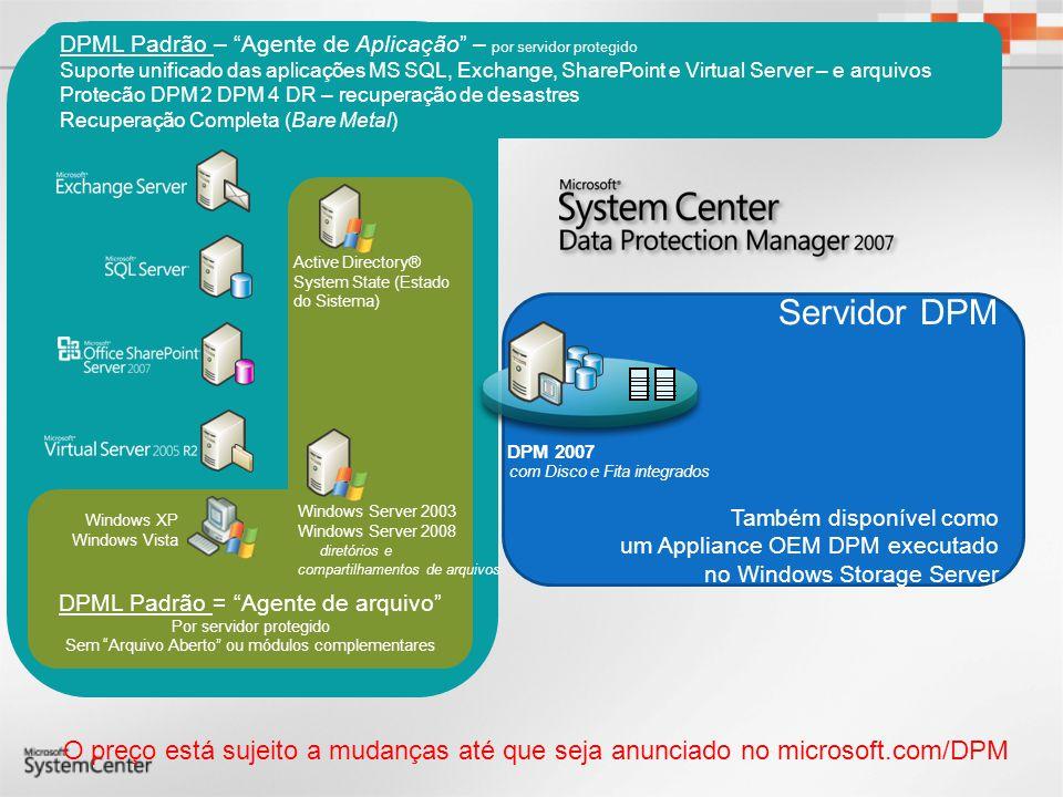 Proteção Eficiente com a Deduplicação Dia 0 : Logs Transacionais O DPM pode fazer a restauração do servidor a cada 15 minutos Base de Dados 0:00 Adia para 0:XX com os logs transacionais RestauraçãoRestauração Réplica do DPMServidor em Produção