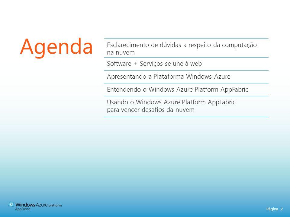 Página 2 Agenda Esclarecimento de dúvidas a respeito da computação na nuvem Software + Serviços se une à web Apresentando a Plataforma Windows Azure E