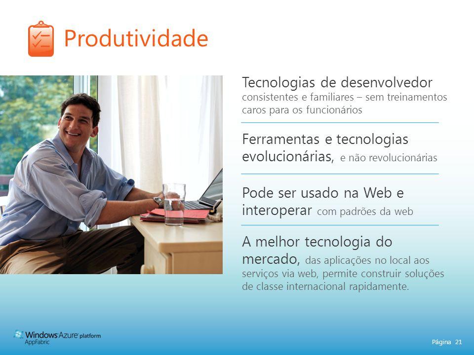 Página 21 Tecnologias de desenvolvedor consistentes e familiares – sem treinamentos caros para os funcionários Ferramentas e tecnologias evolucionária