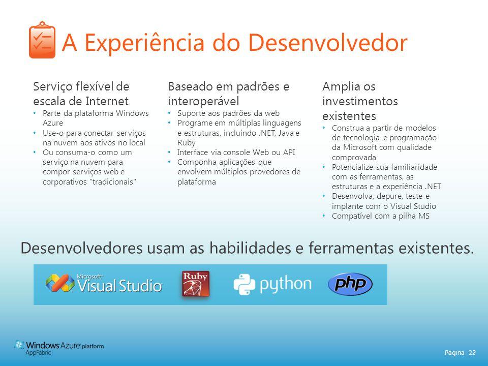 Página 22 A Experiência do Desenvolvedor Desenvolvedores usam as habilidades e ferramentas existentes. Serviço flexível de escala de Internet Parte da