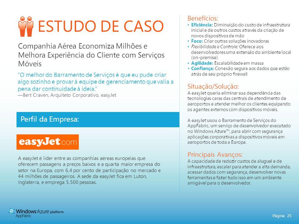 Página 25 ESTUDO DE CASO Perfil da Empresa: Benefícios: Eficiência: Diminuição do custo de infraestrutura inicial e de outros custos através da criaçã
