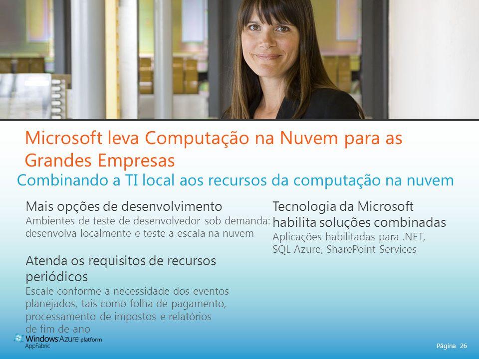 Página 26 Microsoft leva Computação na Nuvem para as Grandes Empresas Combinando a TI local aos recursos da computação na nuvem Mais opções de desenvo