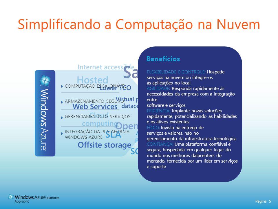 Página 5 Simplificando a Computação na Nuvem FLEXIBILIDADE E CONTROLE: Hospede serviços na nuvem ou integre-os às aplicações no local AGILIDADE: Respo