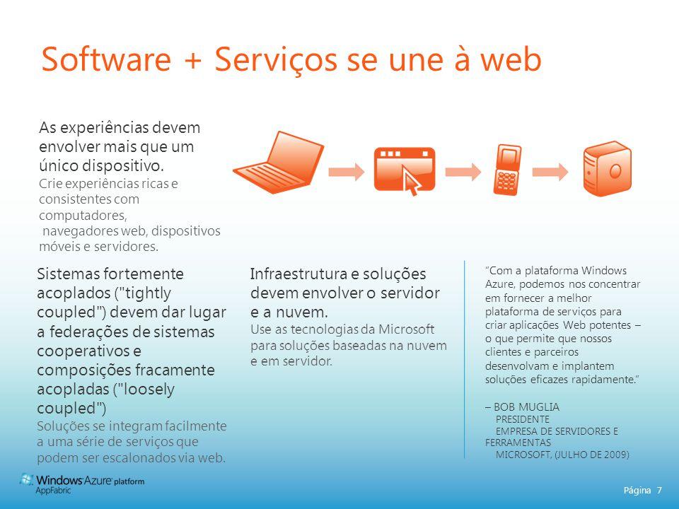 Página 8 Software + Serviços ComputadorTelefone ServidorNuvem Ferramentas e Suporte Multiplataforma Cliente TV