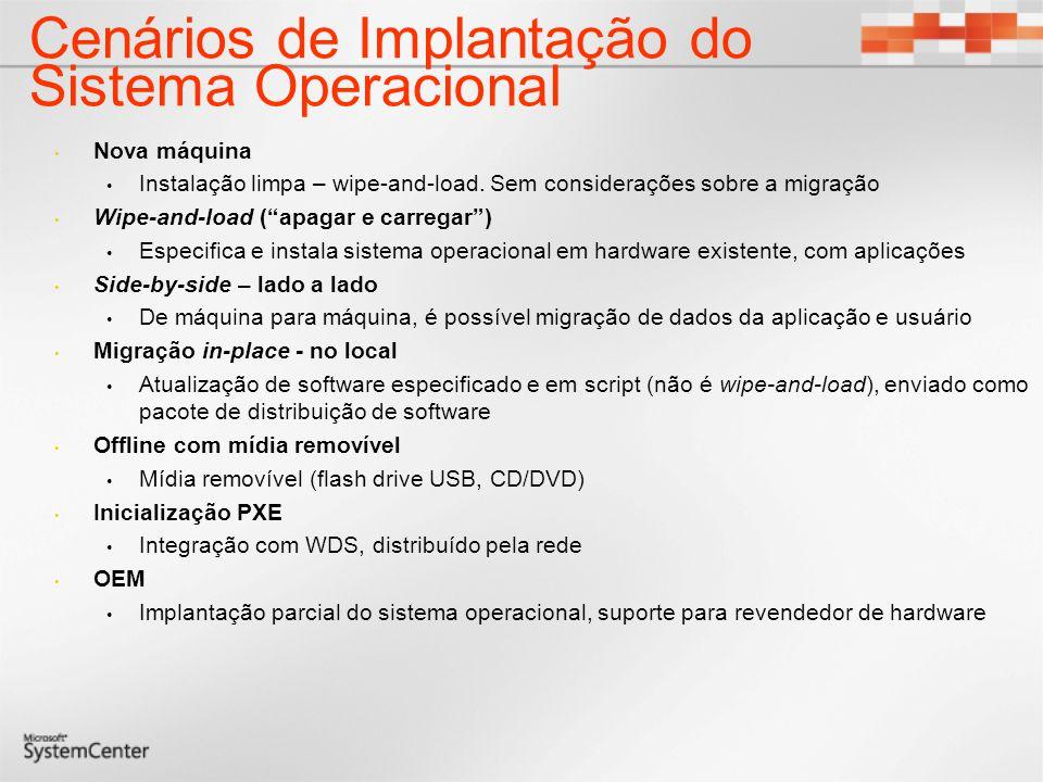 Cenários de Implantação do Sistema Operacional Nova máquina Instalação limpa – wipe-and-load.