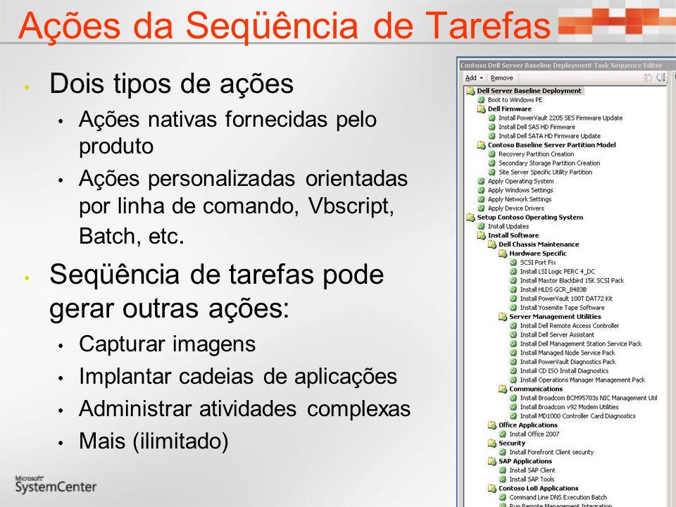 Ações da Seqüência de Tarefas Dois tipos de ações Ações nativas fornecidas pelo produto Ações personalizadas orientadas por linha de comando, Vbscript, Batch, etc.