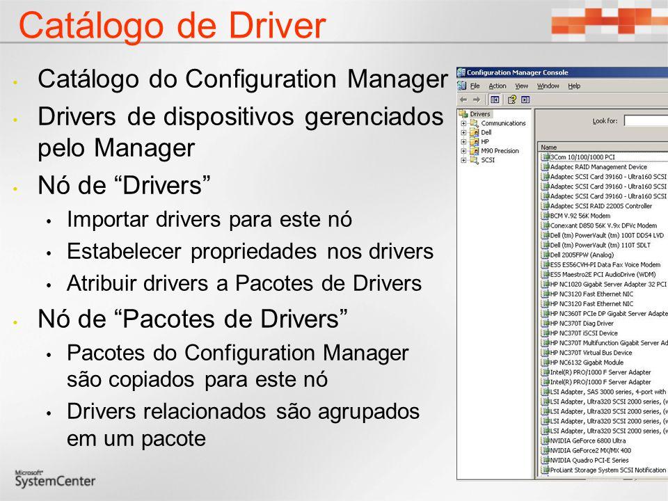 Catálogo de Driver Catálogo do Configuration Manager Drivers de dispositivos gerenciados pelo Manager Nó de Drivers Importar drivers para este nó Estabelecer propriedades nos drivers Atribuir drivers a Pacotes de Drivers Nó de Pacotes de Drivers Pacotes do Configuration Manager são copiados para este nó Drivers relacionados são agrupados em um pacote