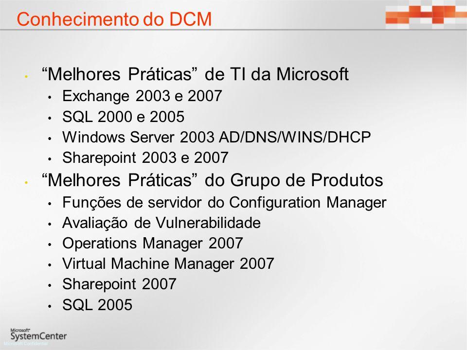 Microsoft Confidential Melhores Práticas de TI da Microsoft Exchange 2003 e 2007 SQL 2000 e 2005 Windows Server 2003 AD/DNS/WINS/DHCP Sharepoint 2003 e 2007 Melhores Práticas do Grupo de Produtos Funções de servidor do Configuration Manager Avaliação de Vulnerabilidade Operations Manager 2007 Virtual Machine Manager 2007 Sharepoint 2007 SQL 2005 Conhecimento do DCM