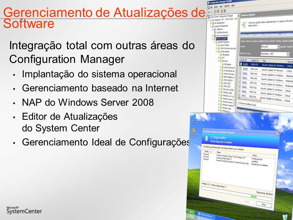Gerenciamento de Atualizações de Software Integração total com outras áreas do Configuration Manager Implantação do sistema operacional Gerenciamento baseado na Internet NAP do Windows Server 2008 Editor de Atualizações do System Center Gerenciamento Ideal de Configurações