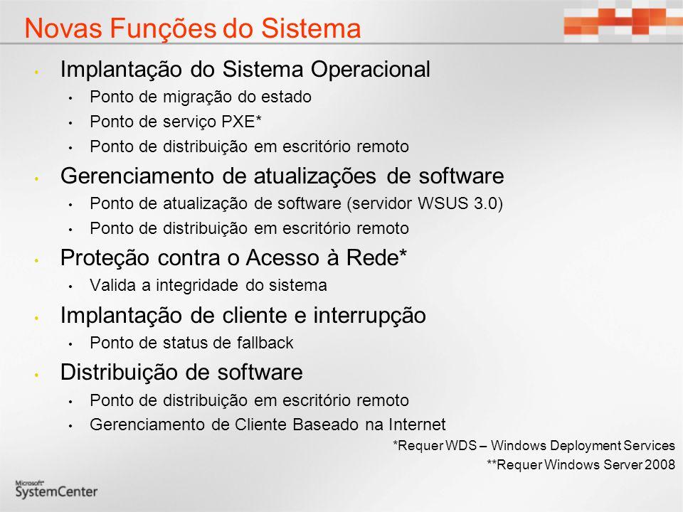 Novas Funções de Servidor SQL Server Servidor de Site Primário Ponto de Gerenciamento Ponto de Localizador do Servidor Ponto de Relatório Ponto de Serviço PXE Ponto de Migração de Estado Ponto de Distribuição Ponto de Atualização de Software Ponto de Status de Fallback Validador da Integridade do Sistema Implantação da Filial Nova Função Função Equivalente ao SMS 2003