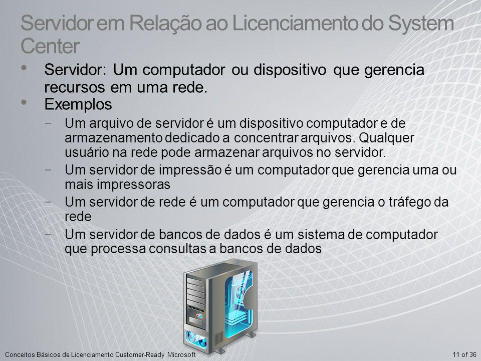 11 of 36Conceitos Básicos de Licenciamento Customer-Ready Microsoft Servidor em Relação ao Licenciamento do System Center Servidor: Um computador ou d