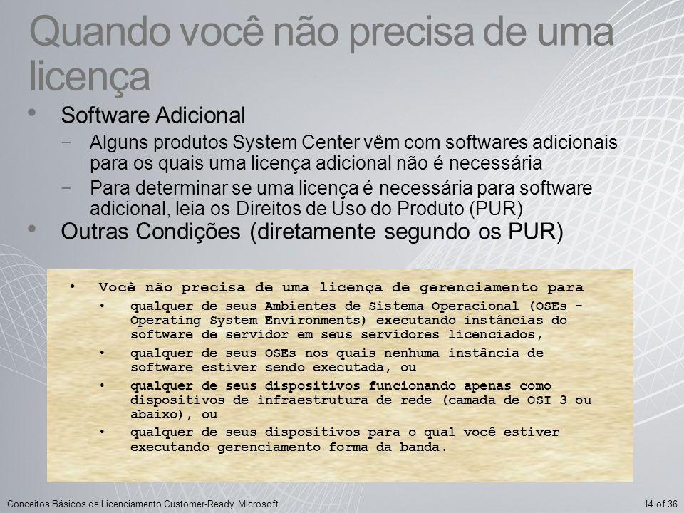 14 of 36Conceitos Básicos de Licenciamento Customer-Ready Microsoft Quando você não precisa de uma licença Software Adicional Alguns produtos System C