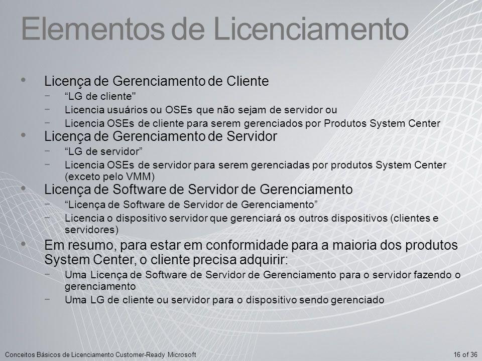 16 of 36Conceitos Básicos de Licenciamento Customer-Ready Microsoft Elementos de Licenciamento Licença de Gerenciamento de Cliente LG de cliente