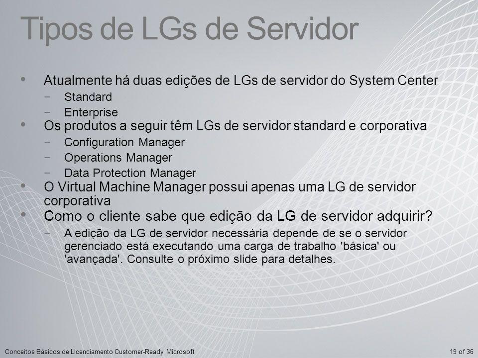 19 of 36Conceitos Básicos de Licenciamento Customer-Ready Microsoft Tipos de LGs de Servidor Atualmente há duas edições de LGs de servidor do System C