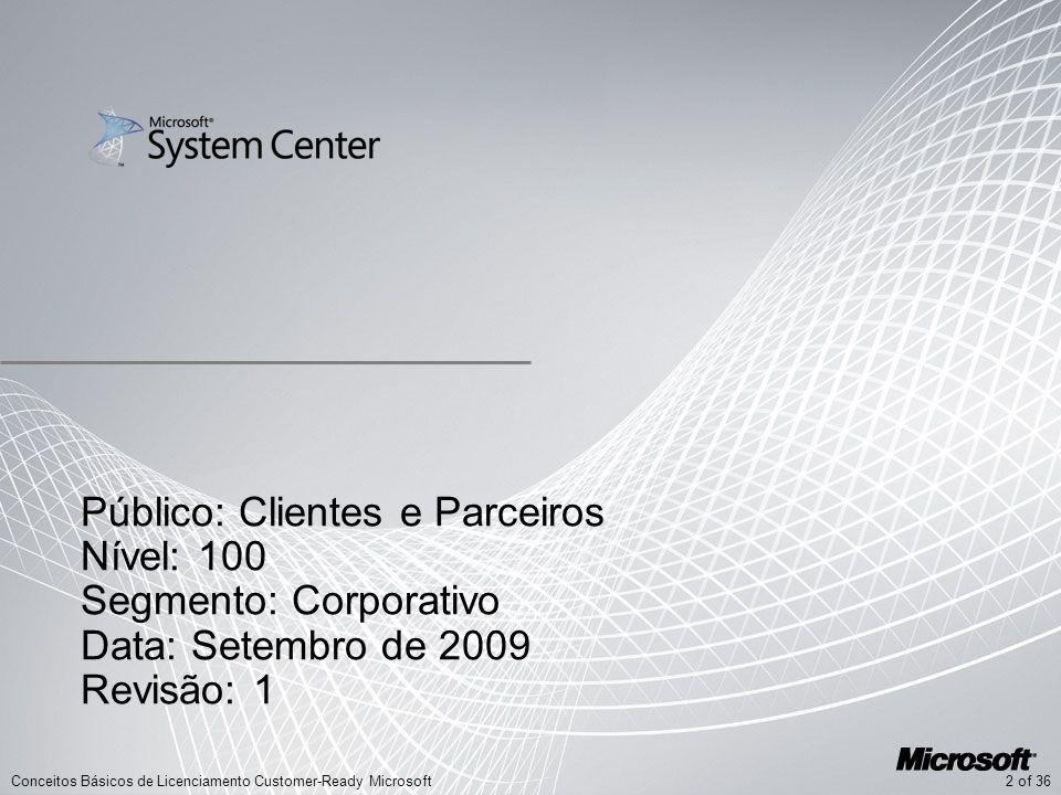 2 of 36Conceitos Básicos de Licenciamento Customer-Ready Microsoft Público: Clientes e Parceiros Nível: 100 Segmento: Corporativo Data: Setembro de 20