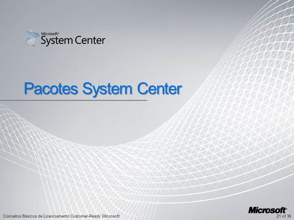 21 of 36Conceitos Básicos de Licenciamento Customer-Ready Microsoft Pacotes System Center