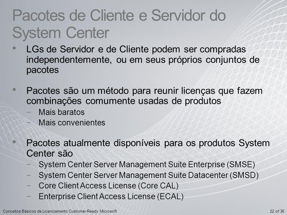 22 of 36Conceitos Básicos de Licenciamento Customer-Ready Microsoft Pacotes de Cliente e Servidor do System Center LGs de Servidor e de Cliente podem
