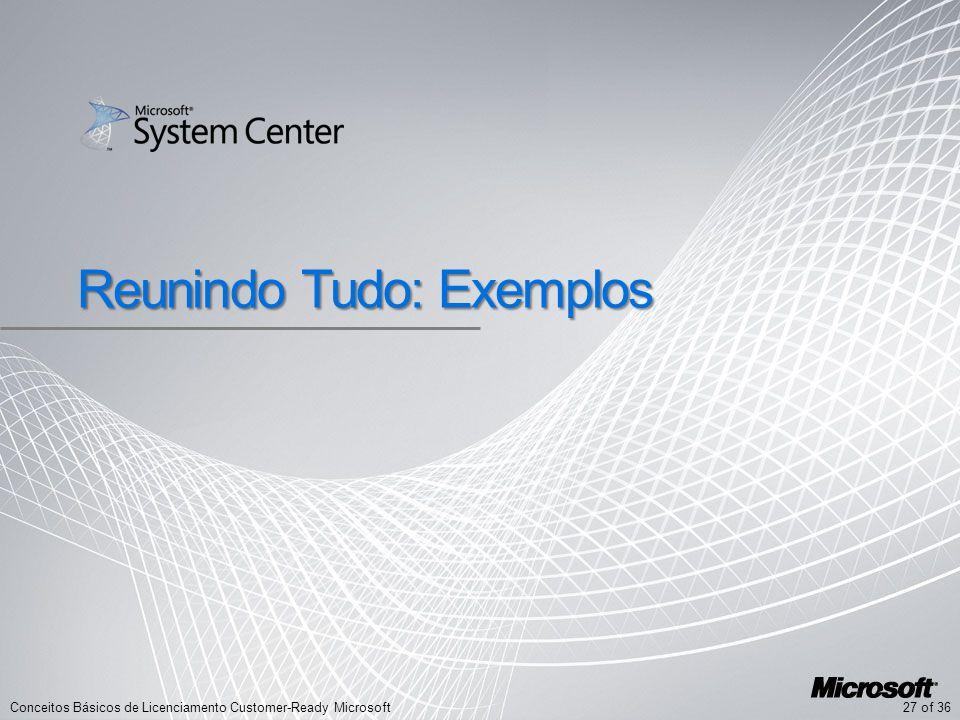 27 of 36Conceitos Básicos de Licenciamento Customer-Ready Microsoft Reunindo Tudo: Exemplos