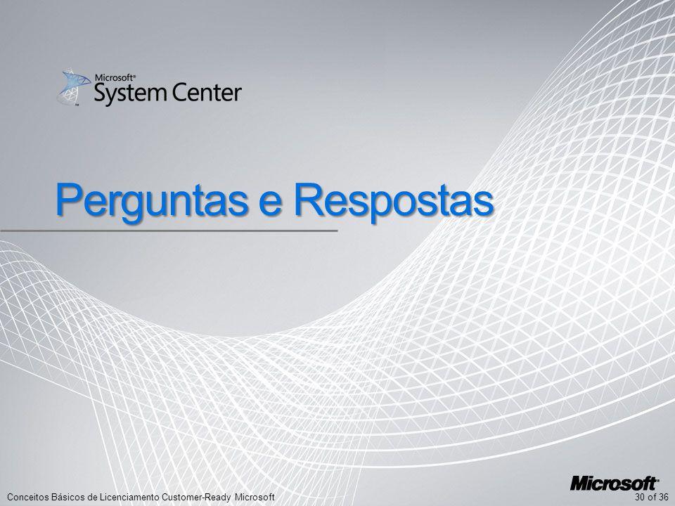 30 of 36Conceitos Básicos de Licenciamento Customer-Ready Microsoft Perguntas e Respostas