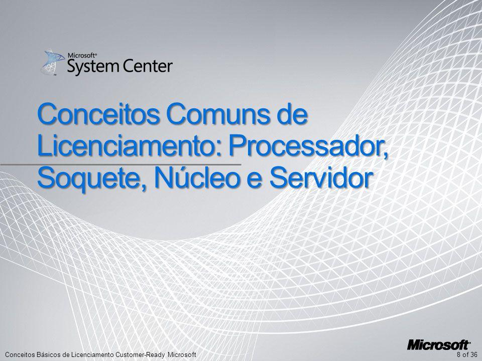 8 of 36Conceitos Básicos de Licenciamento Customer-Ready Microsoft Conceitos Comuns de Licenciamento: Processador, Soquete, Núcleo e Servidor