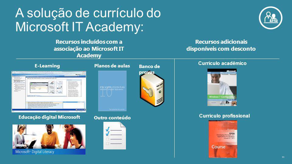 A solução de currículo do Microsoft IT Academy: 11 Recursos incluídos com a associação ao Microsoft IT Academy Recursos adicionais disponíveis com desconto Banco de provas Outro conteúdo Currículo acadêmico Currículo profissional Planos de aulas E-Learning Educação digital Microsoft