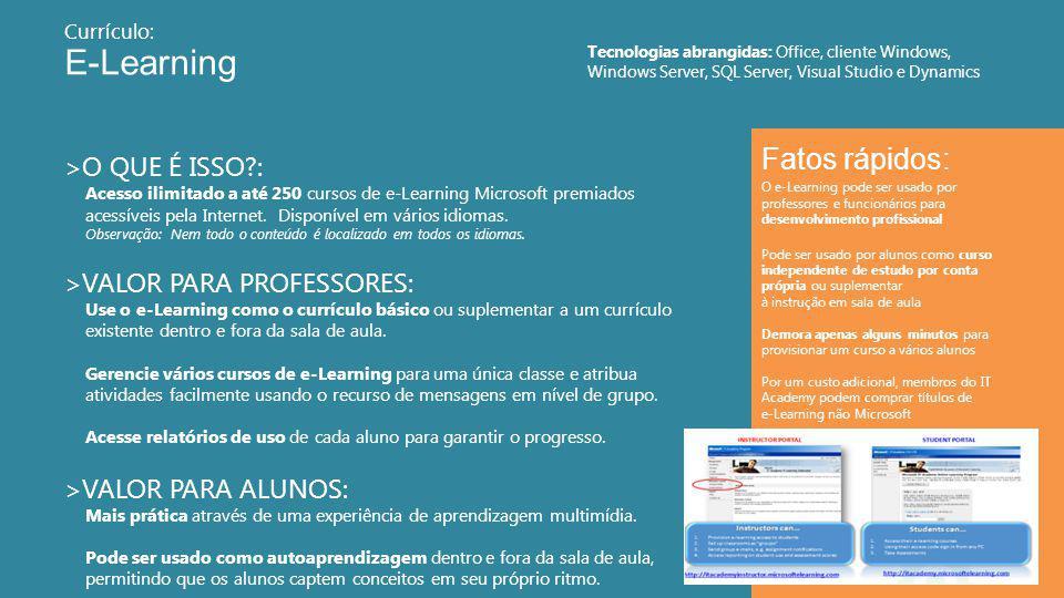 E-Learning 12 >O QUE É ISSO : Acesso ilimitado a até 250 cursos de e-Learning Microsoft premiados acessíveis pela Internet.