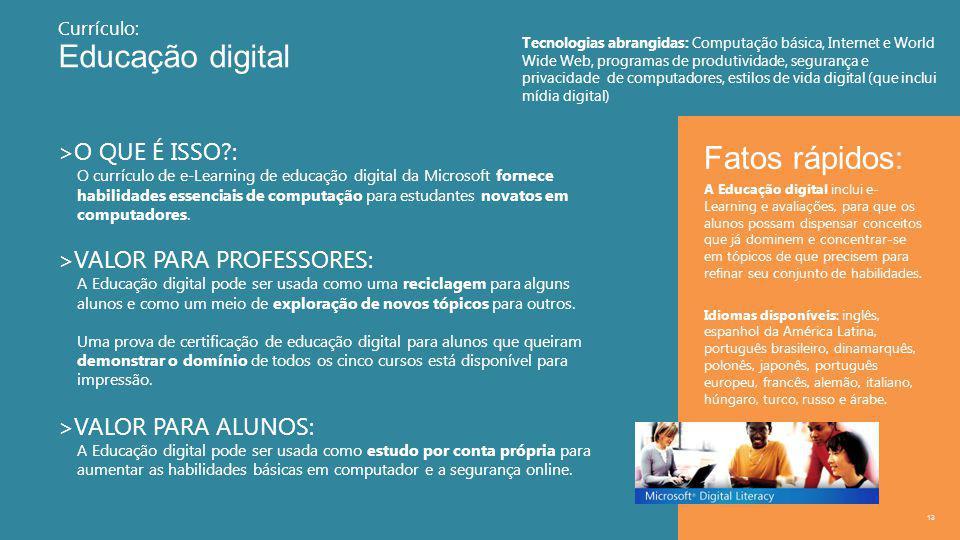 Educação digital 13 >O QUE É ISSO : O currículo de e-Learning de educação digital da Microsoft fornece habilidades essenciais de computação para estudantes novatos em computadores.