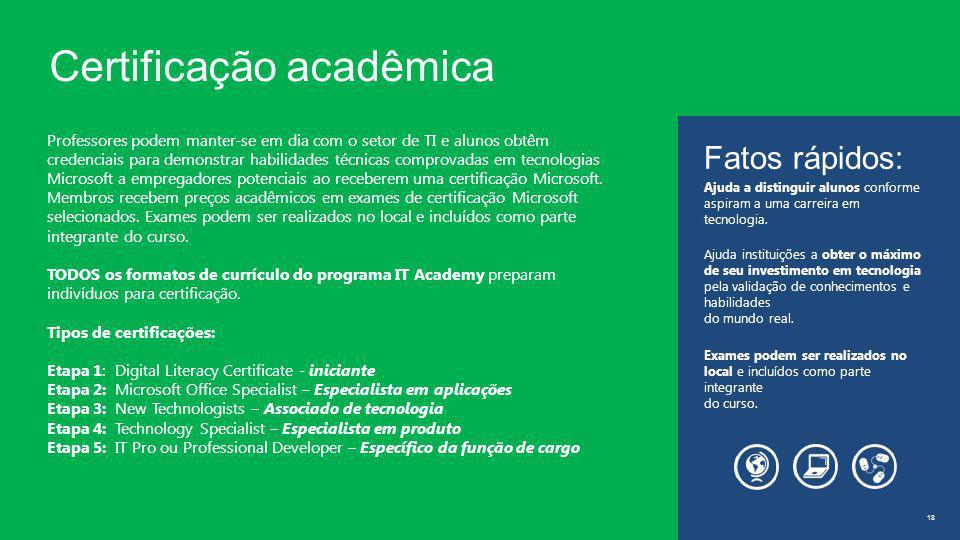 Certificação acadêmica 18 Professores podem manter-se em dia com o setor de TI e alunos obtêm credenciais para demonstrar habilidades técnicas comprovadas em tecnologias Microsoft a empregadores potenciais ao receberem uma certificação Microsoft.