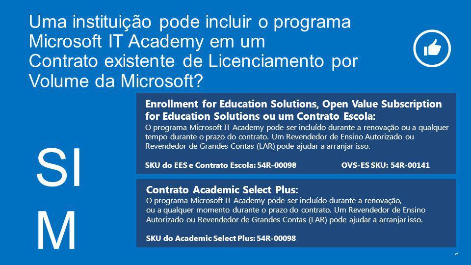 Uma instituição pode incluir o programa Microsoft IT Academy em um Contrato existente de Licenciamento por Volume da Microsoft.