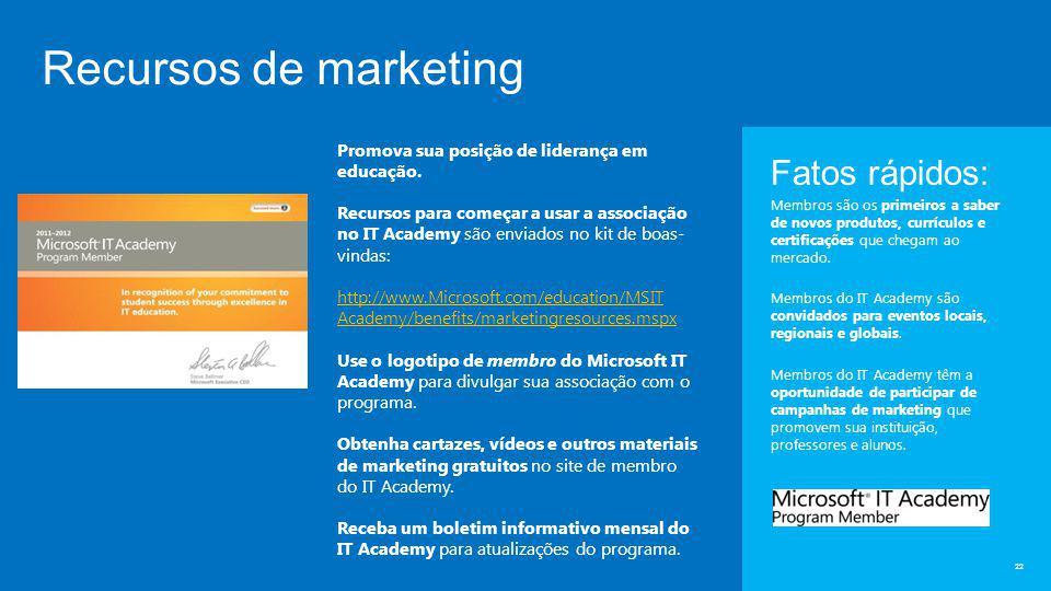 Recursos de marketing 22 Fatos rápidos: Membros são os primeiros a saber de novos produtos, currículos e certificações que chegam ao mercado.