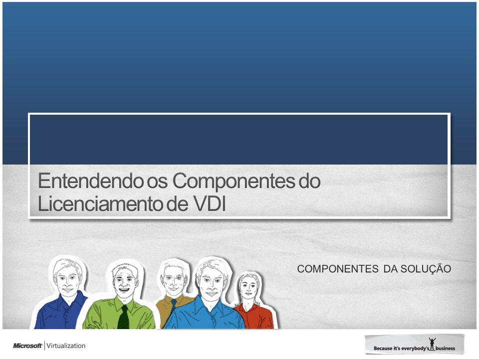 150 VMs 100 Usuários 100 computadores com SA 100 Thin Clients Requisito de Licença 100 Licenças Windows VECD Requisito de Licença 100 Licenças Windows VECD Minha empresa tem 100 computadores e 100 thin clients usando VDI.