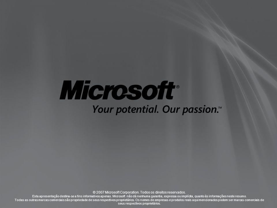 © 2007 Microsoft Corporation. Todos os direitos reservados. Esta apresentação destina-se a fins informativos apenas. Microsoft não dá nenhuma garantia