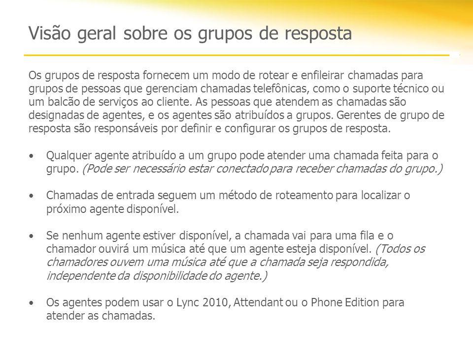Visão geral sobre os grupos de resposta Os grupos de resposta fornecem um modo de rotear e enfileirar chamadas para grupos de pessoas que gerenciam ch