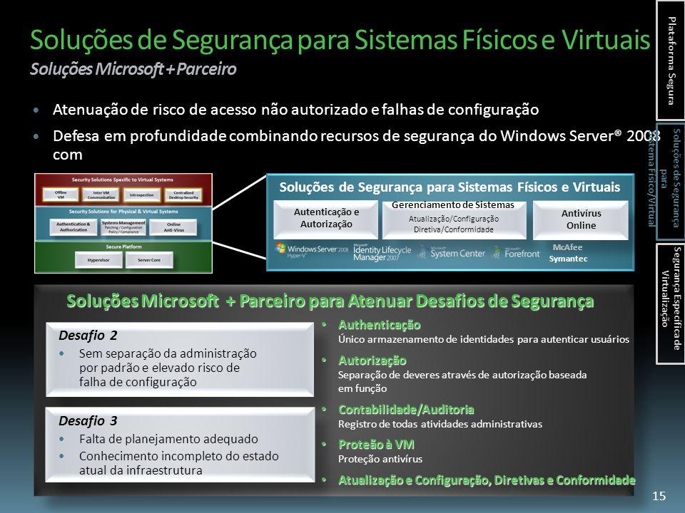 Soluções de Segurança para Sistemas Físicos e Virtuais Soluções Microsoft + Parceiro Desafio 2 Sem separação da administração por padrão e elevado risco de falha de configuração Soluções de Segurança para Sistemas Físicos e Virtuais Autenticação e Autorização Soluções Microsoft + Parceiro para Atenuar Desafios de Segurança Desafio 3 Falta de planejamento adequado Conhecimento incompleto do estado atual da infraestrutura Atenuação de risco de acesso não autorizado e falhas de configuração Defesa em profundidade combinando recursos de segurança do Windows Server® 2008 com ferramentas de proteção McAfee Symantec 15 Authenticação Authenticação Único armazenamento de identidades para autenticar usuários Autorização Autorização Separação de deveres através de autorização baseada em função Contabilidade/Auditoria Contabilidade/Auditoria Registro de todas atividades administrativas Proteão à VM Proteão à VM Proteção antivírus Atualização e Configuração, Diretivas e Conformidade Atualização e Configuração, Diretivas e Conformidade Gerenciamento de Sistemas Atualização/Configuração Diretiva/Conformidade Antivírus Online Plataforma Segura Soluções de Segurança para Sistema Físico/Virtual Segurança Específica de Virtualização