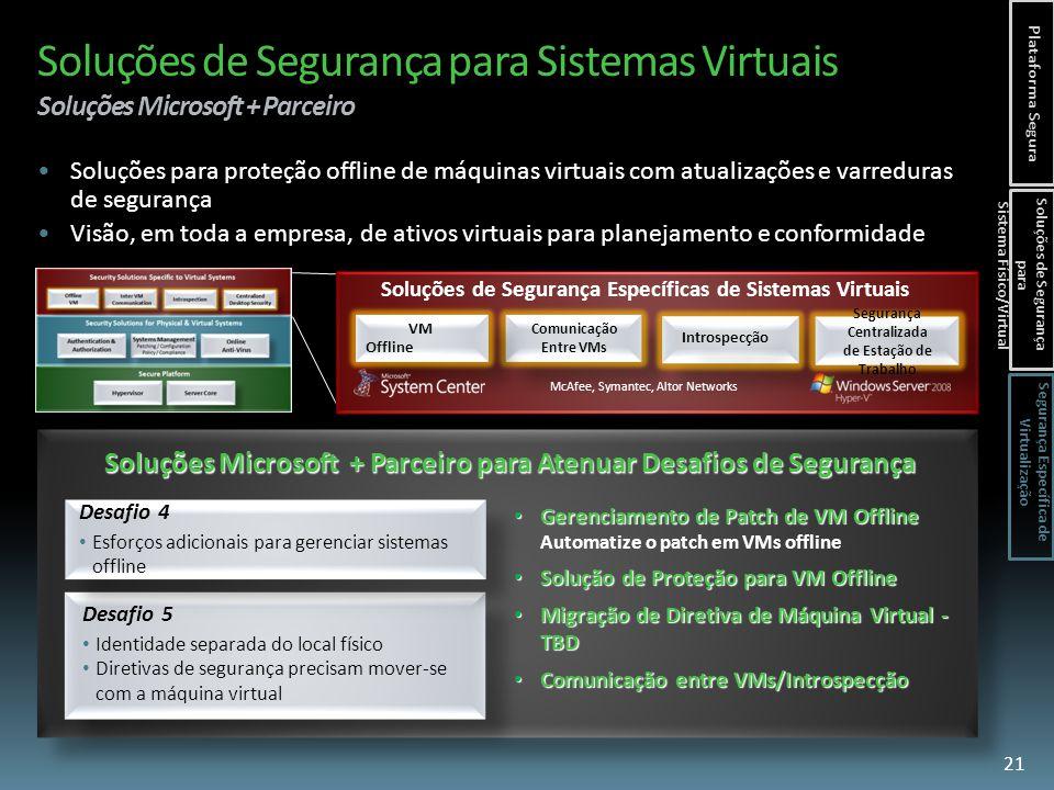 Soluções de Segurança para Sistemas Virtuais Soluções Microsoft + Parceiro Gerenciamento de Patch de VM Offline Gerenciamento de Patch de VM Offline Automatize o patch em VMs offline Solução de Proteção para VM Offline Solução de Proteção para VM Offline Migração de Diretiva de Máquina Virtual - TBD Migração de Diretiva de Máquina Virtual - TBD Comunicação entre VMs/Introspecção Comunicação entre VMs/Introspecção Soluções Microsoft + Parceiro para Atenuar Desafios de Segurança VM Offline VM Offline Comunicação Entre VMs Soluções de Segurança Específicas de Sistemas Virtuais Introspecção Segurança Centralizada de Estação de Trabalho Segurança Centralizada de Estação de Trabalho Desafio 5 Identidade separada do local físico Diretivas de segurança precisam mover-se com a máquina virtual Desafio 4 Esforços adicionais para gerenciar sistemas offline Soluções para proteção offline de máquinas virtuais com atualizações e varreduras de segurança Visão, em toda a empresa, de ativos virtuais para planejamento e conformidade McAfee, Symantec, Altor Networks 21 Plataforma Segura Soluções de Segurança para Sistema Físico/Virtual Segurança Específica de Virtualização
