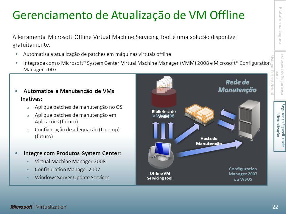 A ferramenta Microsoft Offline Virtual Machine Servicing Tool é uma solução disponível gratuitamente: Automatiza a atualização de patches em máquinas virtuais offline Integrada com o Microsoft® System Center Virtual Machine Manager (VMM) 2008 e Microsoft® Configuration Manager 2007 Offline VM Servicing Tool Rede de Manutenção Configuration Manager 2007 ou WSUS VMM 2008 Gerenciamento de Atualização de VM Offline Automatize a Manutenção de VMs Inativas: o Aplique patches de manutenção no OS o Aplique patches de manutenção em Aplicações (futuro) o Configuração de adequação (true-up) (futuro) Integre com Produtos System Center : o Virtual Machine Manager 2008 o Configuration Manager 2007 o Windows Server Update Services Biblioteca do VMM 22 Hosts de Manutenção Plataforma Segura Soluções de Segurança para Sistema Físico/Virtual Segurança Específica de Virtualização