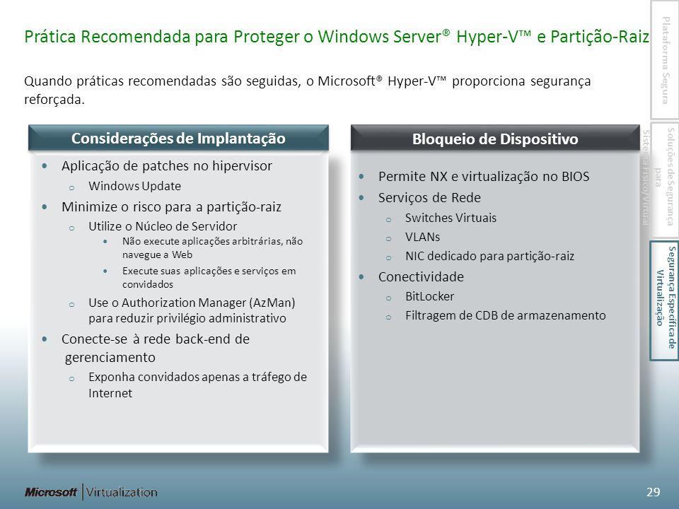 Quando práticas recomendadas são seguidas, o Microsoft® Hyper-V proporciona segurança reforçada.